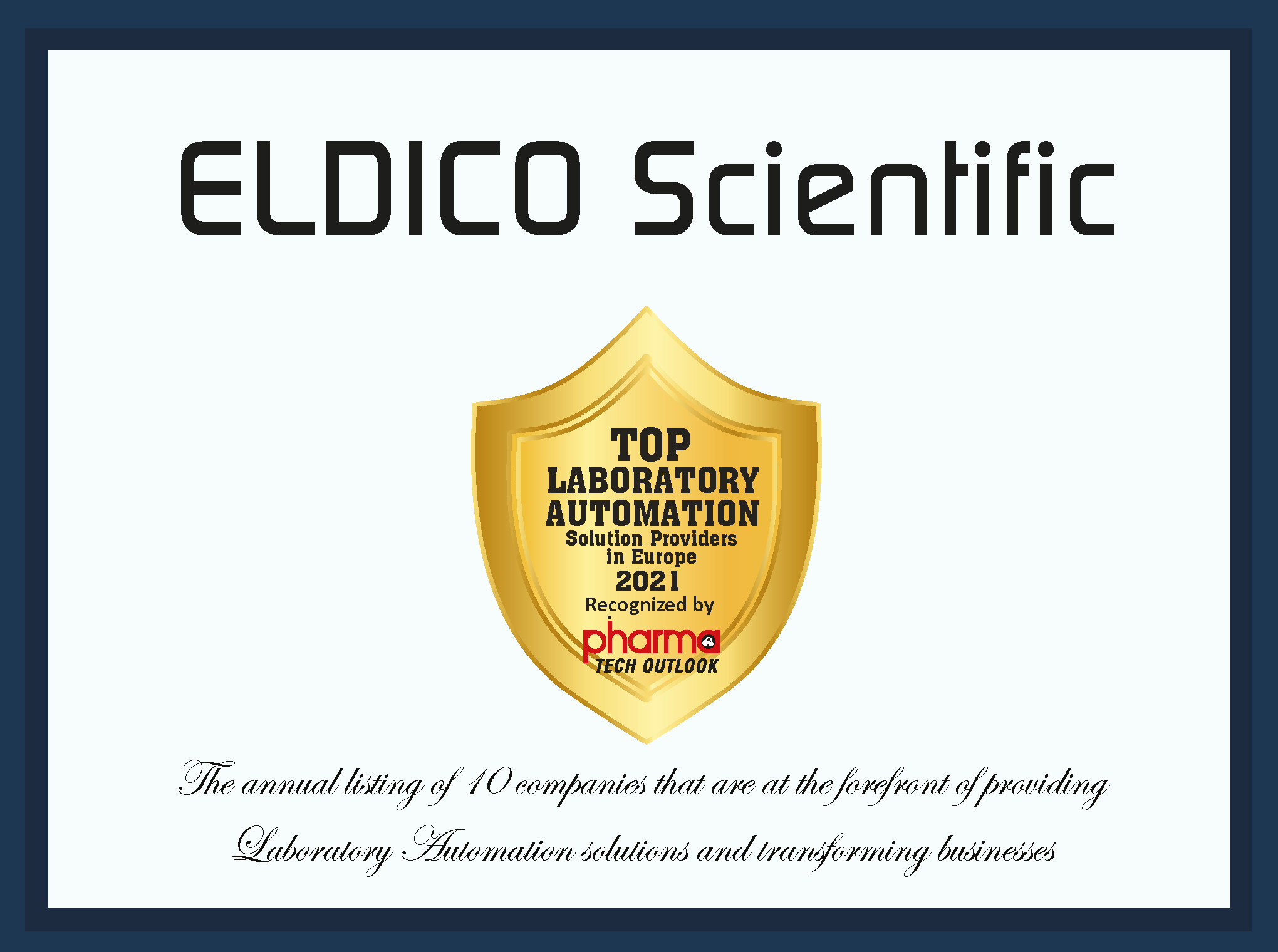 ELDICO Scientific certificate